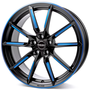 black matt spoke rim blue polished